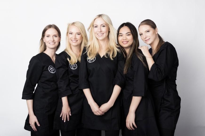 Jag och några av mina kollegor på Skincity