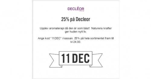 11:e December Lucköppning Decléor -25% på hela sortimentet