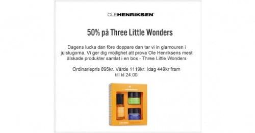 23:e December Lucköppning – 50% rabatt på Ole Henriksen