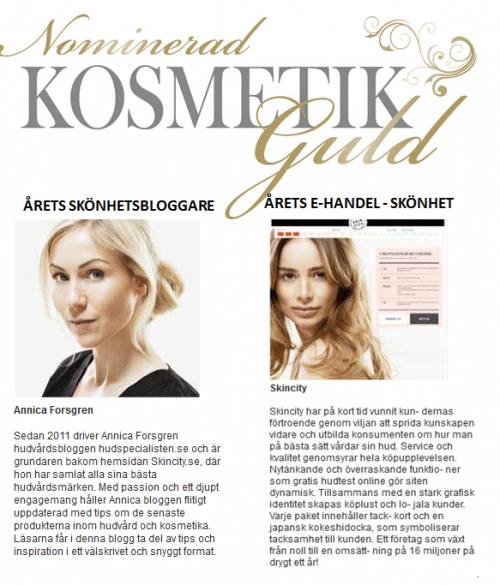 YES! Skincity & Hudspecialisten är nominerade i Kosmetik Guld!