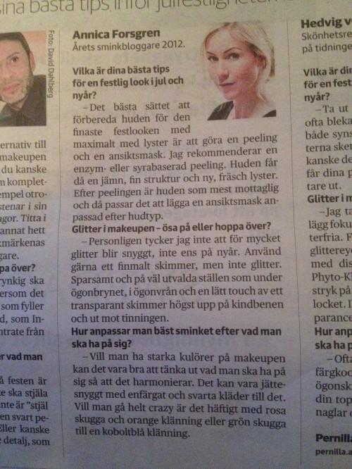 Annica Forsgren årets skönhetsbloggare i Dagens nyheter
