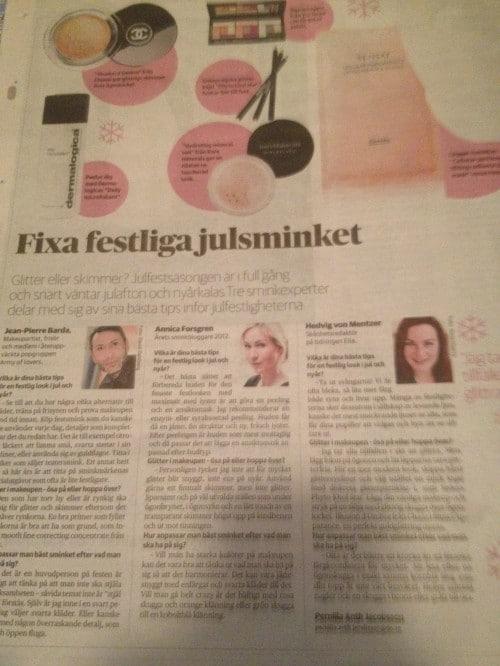 """Mina tips i Dagens Nyheter! """"Fixa festliga Julsminket"""""""