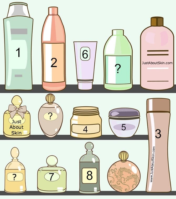 vector illustration of various cosmetics in bathroom