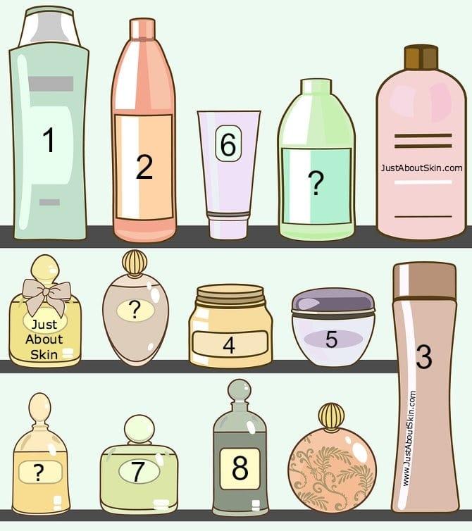 vector illustration of various cosmetics in bathroom