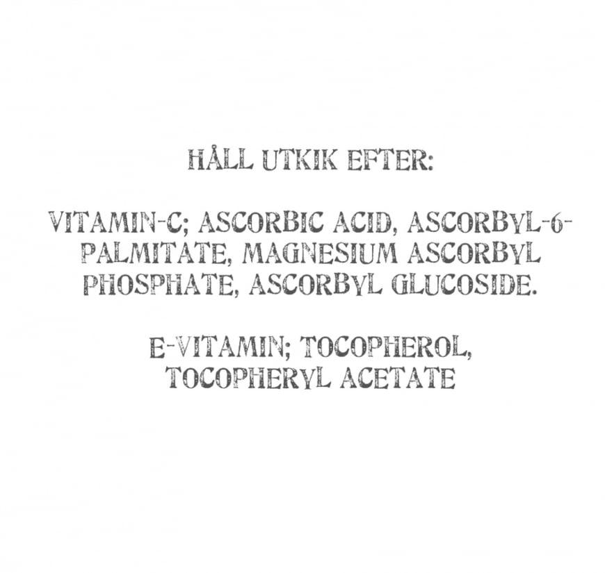 Namn på antioxdiantämnen