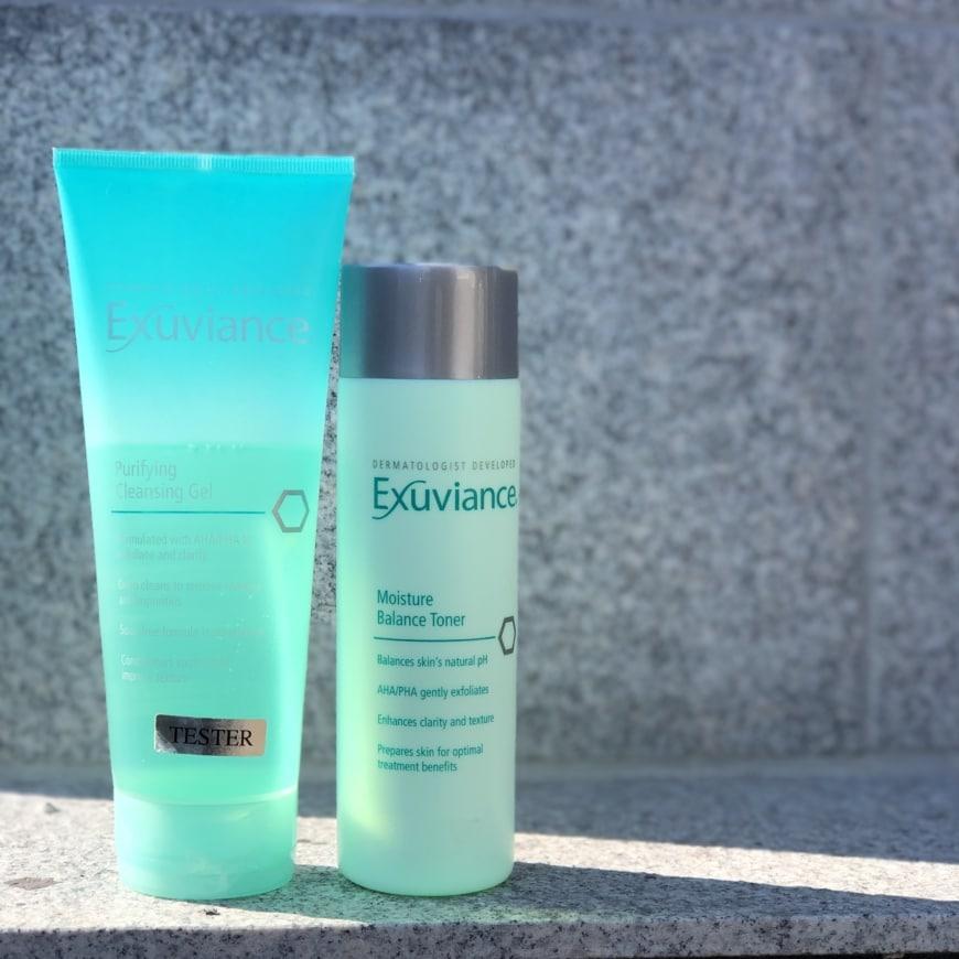 Purifying Cleansing gel och Moisture Balance toner från Exuviance