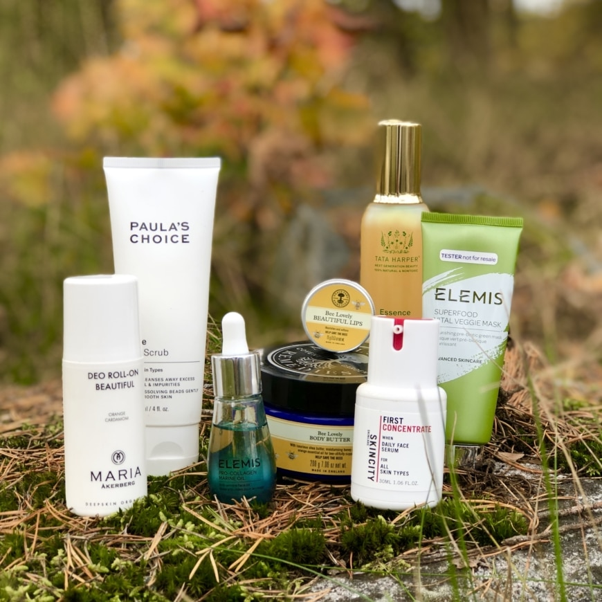 Maria Åkerberg, Paula´s Choice, Elemis, Neals Yard Remedies, Tata Harper och Skincity Skincare