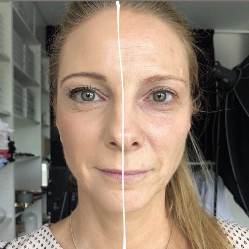 Yasemin med makeup på ena halvan av ansiktet
