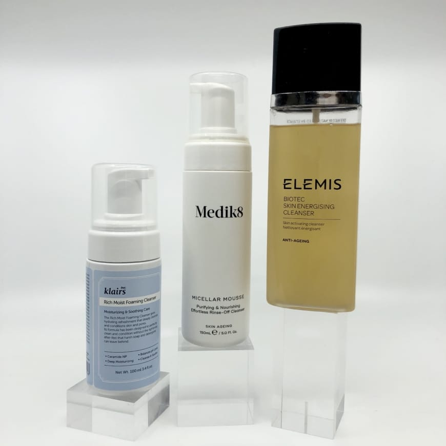 Rich Moist Foaming Cleanser, Micellar Mousse, Biotec Skin Energising cleanser