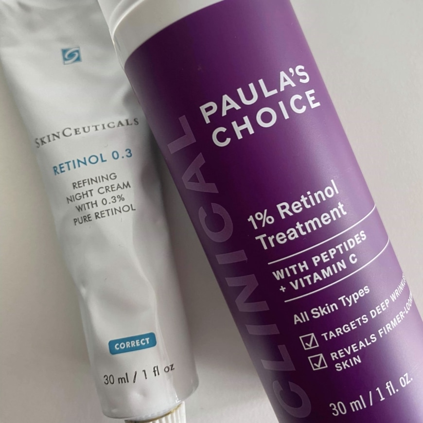 SkinCeuticals retinol 0,3 och Paula´s Choice Clinical1% Retinol Treatment