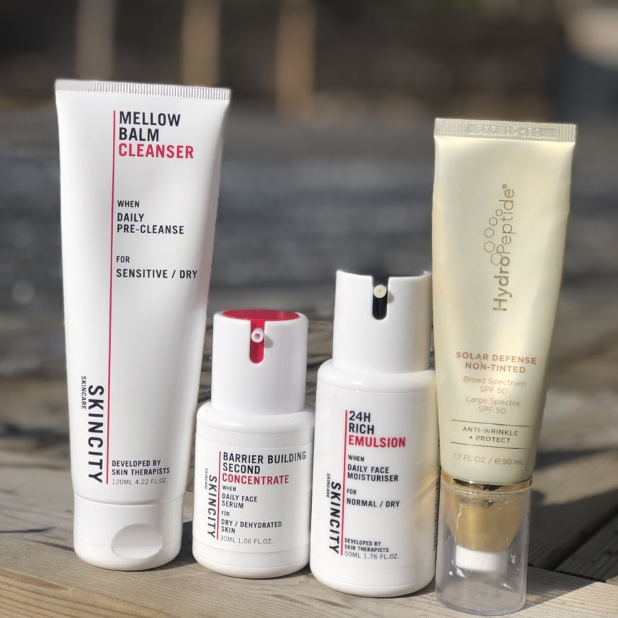 Mellow balm cleanser, Second Barrier Building Concentrate, Rich Emulsion, Hydropeptide Solar Defence