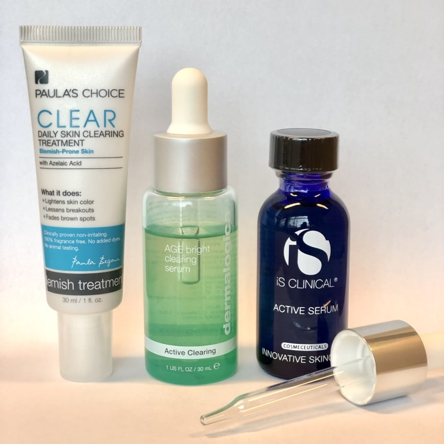 Paula´s Choice Clear Daily Skin Clearing Treatment, Dermalogica Age Bright Clearing serum och Is Clinical Active Serum