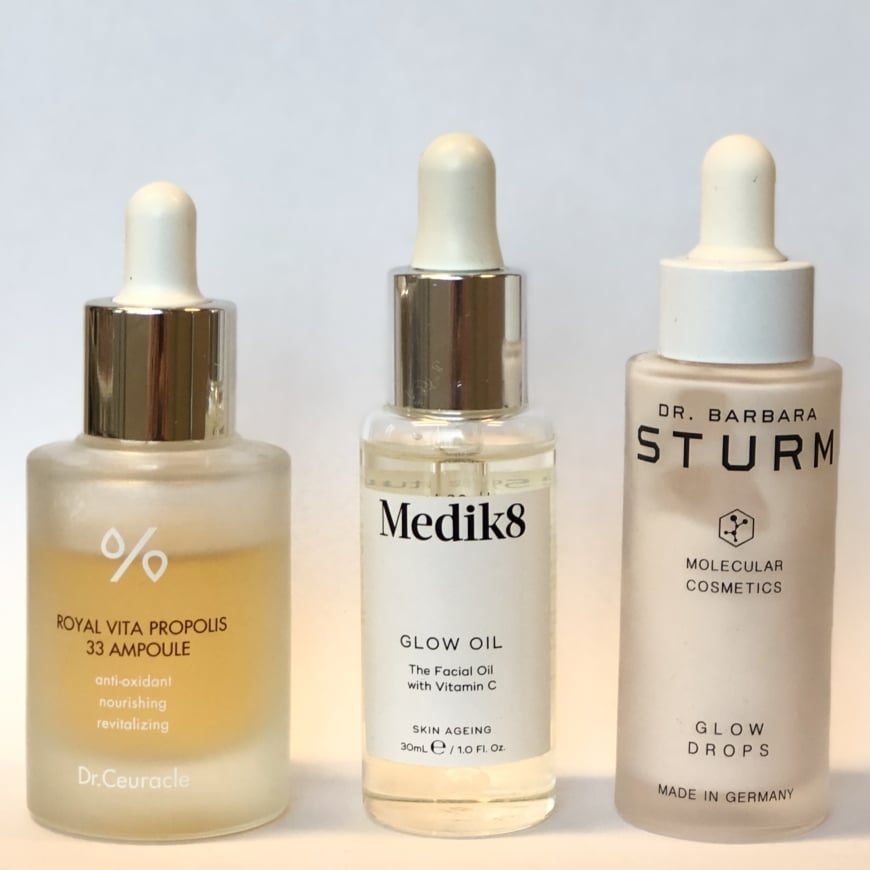Dr.Ceuracle Royal Vita Propolis 33 Ampoule, Medik8 Glow oil och Dr.Barbara Sturm Glow Drops