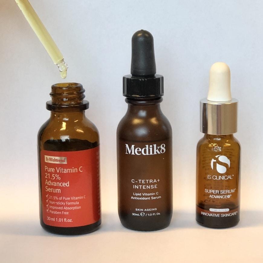 By Wishtrend Pure Vitamin C21,5 Advanced Serum, Medik8 C-Tetra Intense Serumoch Is Clinical Super Serum Advance