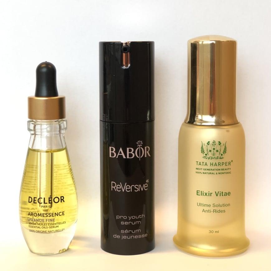 Decleor Lavander Fine Aromessence Serum, Babor Reversive Serum och Tata Harper Elixir Vitae Serum