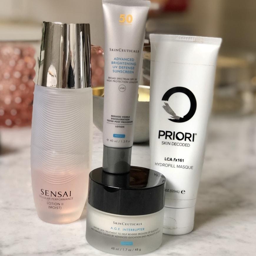 Sensai lotion moist, Advanced Brightening UV defence, AGE Interrupter Priori Hydrofill Masque