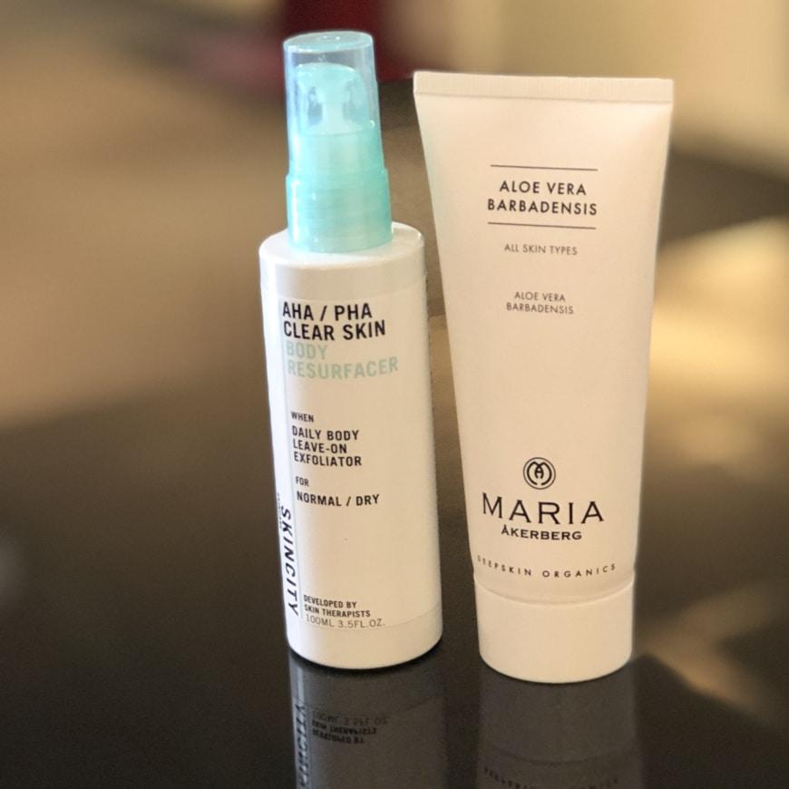 SKINCITY skincare AHA/PHA Clear skin Body Resurfacer och Maria Åkerberg Aloe Vera