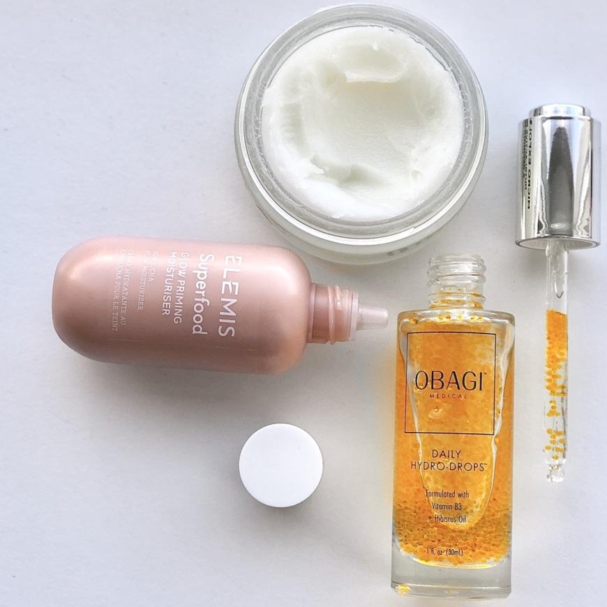 OskiaMicro exfoliating balm, Obagi Hydro drops och Elemis Superfood Glow Priming moisturiser