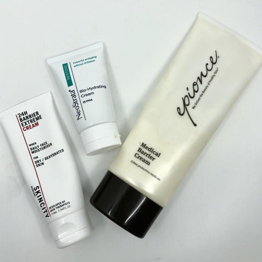 SKINCITY skincare 24H Barrier Extreme Cream, Neostrata Bio-Hydrating Cream och Epionce Medical Barrier Cream