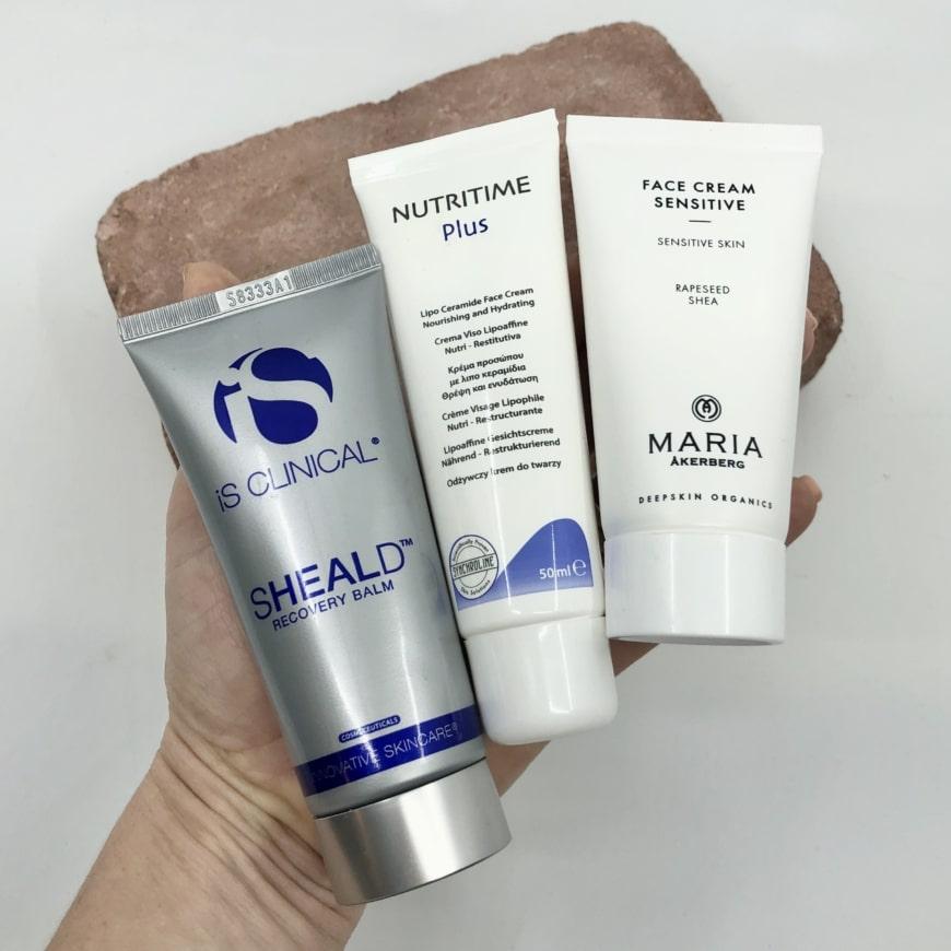 Is Clinical Sheald Recovery Balm, Synchroline Nutritime Face Cream Plus och Maria Åkerberg Face Cream Sensitive
