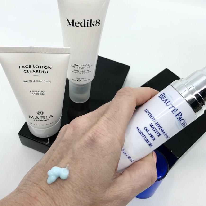 Maria Åkerberg Face Lotion Clearing, Medik8 Balance Moisturiser, Beauté Pacifique Oil-Free Moisturizer