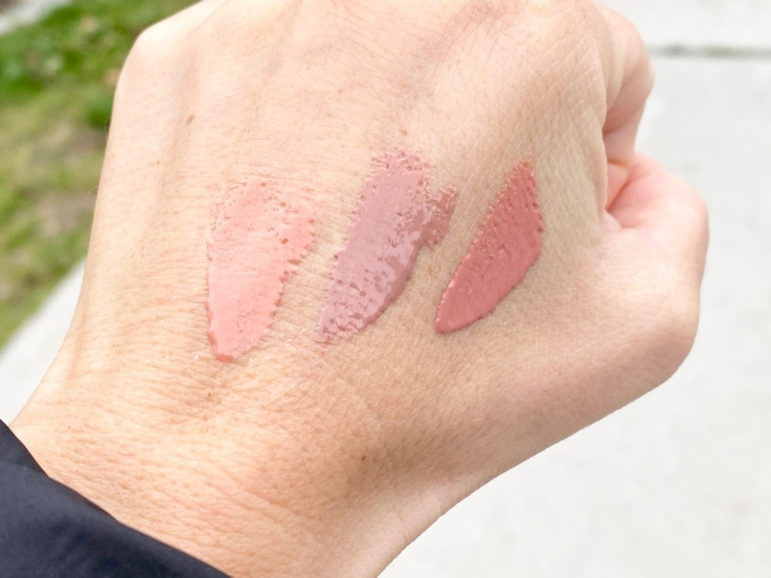 swatches på hourglass läppglans