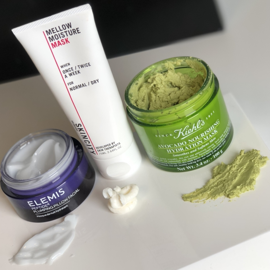 Elemis Peptide4 Plumping Pillow Facial, SKINCITY skincare Mellow Moisture mask och Kiehl´s Avocado Nourishing Hydration Mask