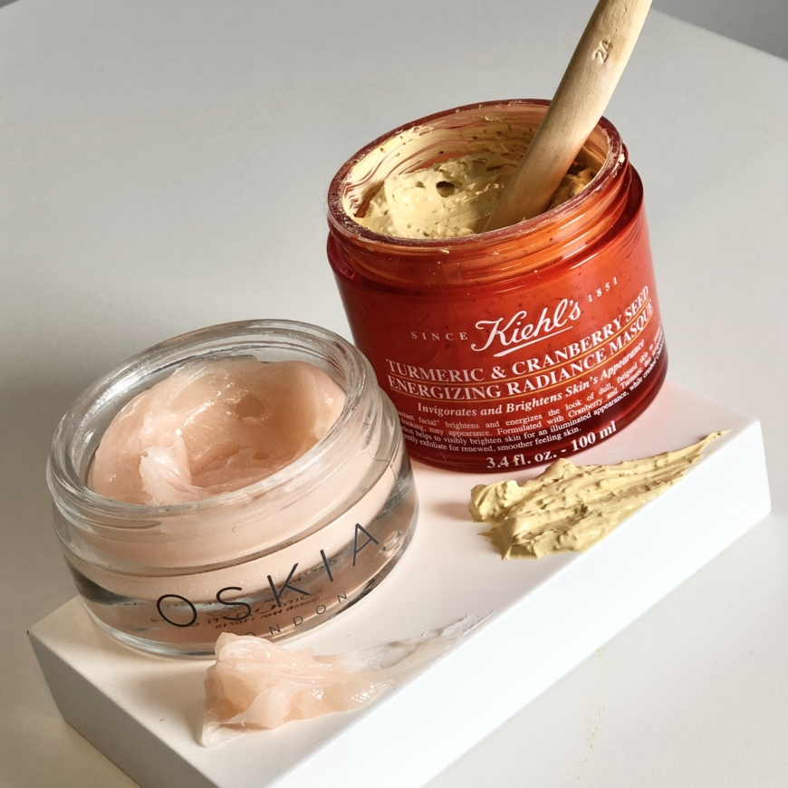 Oskia Renaissance Mask och Kiehl´s Turmeric & Cranberry Seed Energizing Radiance Masque