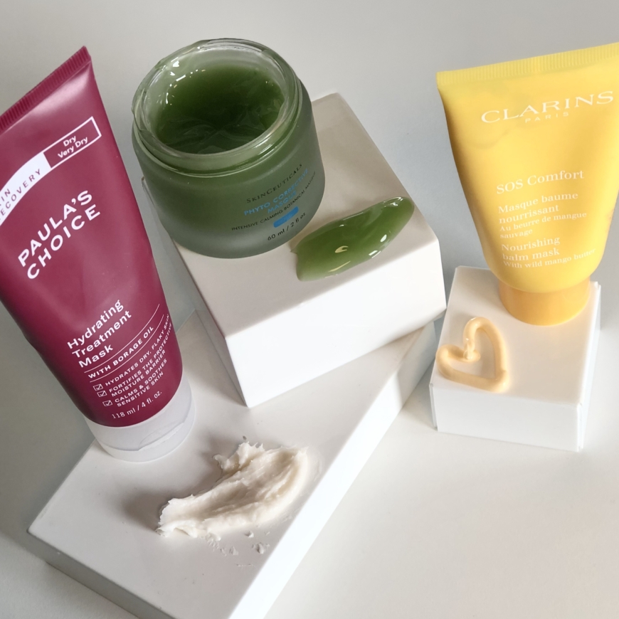 Paula´s Choice Skin Recovery Hydrating Treatment Mask, SkinCeuticals Phyto Corrective Mask, Clarins SOS Comfort mask