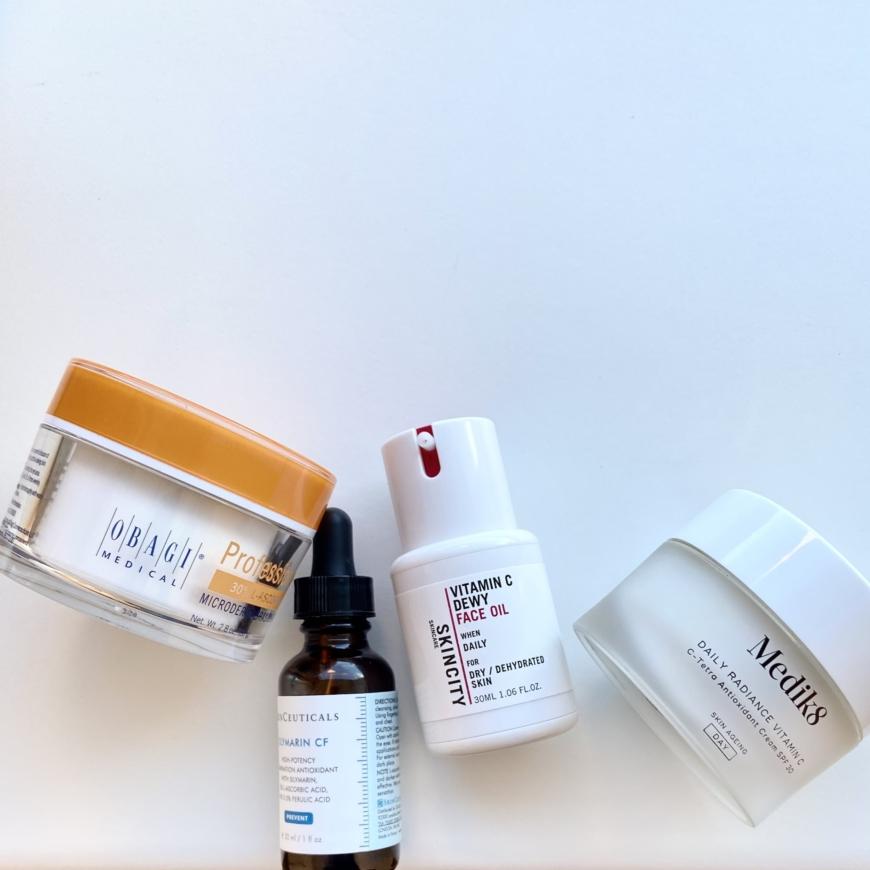 c-vitaminprodukter från Obagi, Skinceuticals, Skincity skincare och Medik8