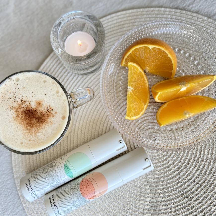 Skinomeprodukter med kaffe och apelsin